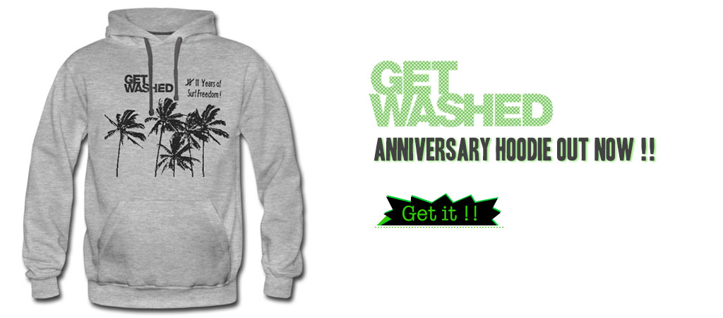 GET WASHED Anniversary Hoodie in very comfortable modern fit & long-sectional shape