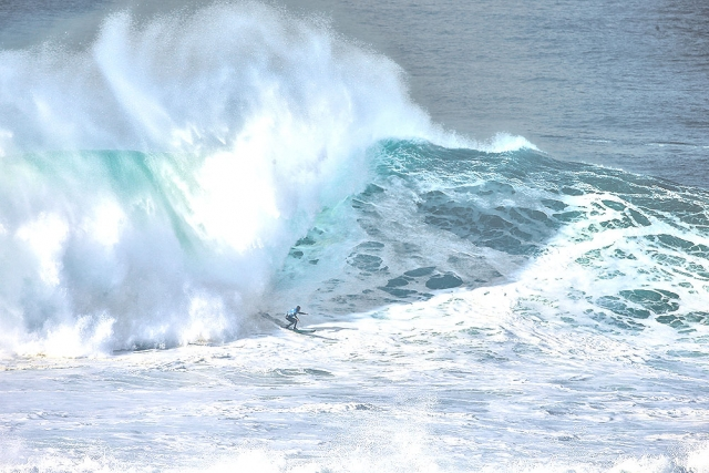 Christian Merello at historic WSL Nazaré Challenge