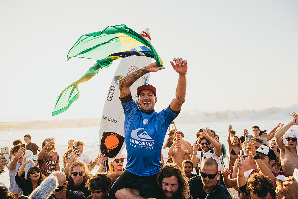 Gabriel Medina celebrating his victory at the Quiksilver Pro France 2017