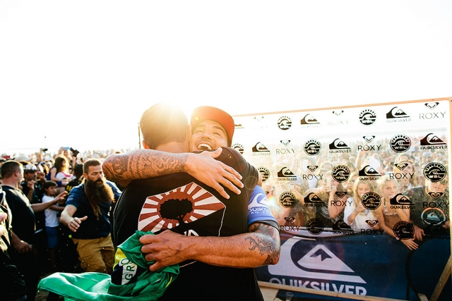 Gabriel Medina happy about his victory at Quiksilver Pro France